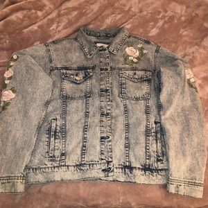 Denim jacket large with cute flowers on it